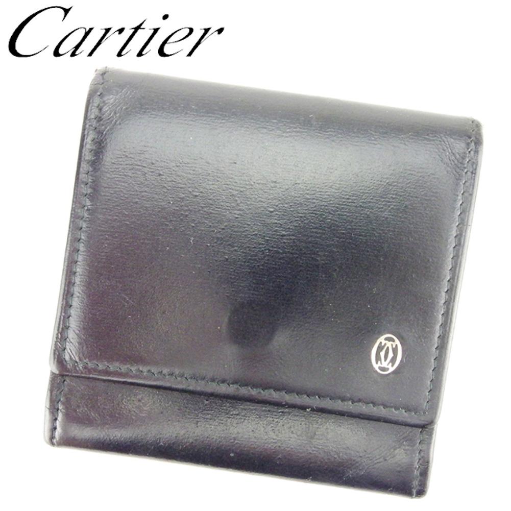 【中古】 カルティエ Cartier コインケース 小銭入れ レディース メンズ パシャ ブラック レザー 人気 セール E1298 .