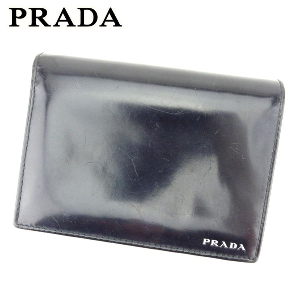 【中古】 プラダ PRADA 二つ折り 財布 レディース メンズ ロゴ ブラック レザー 人気 セール E1307 .
