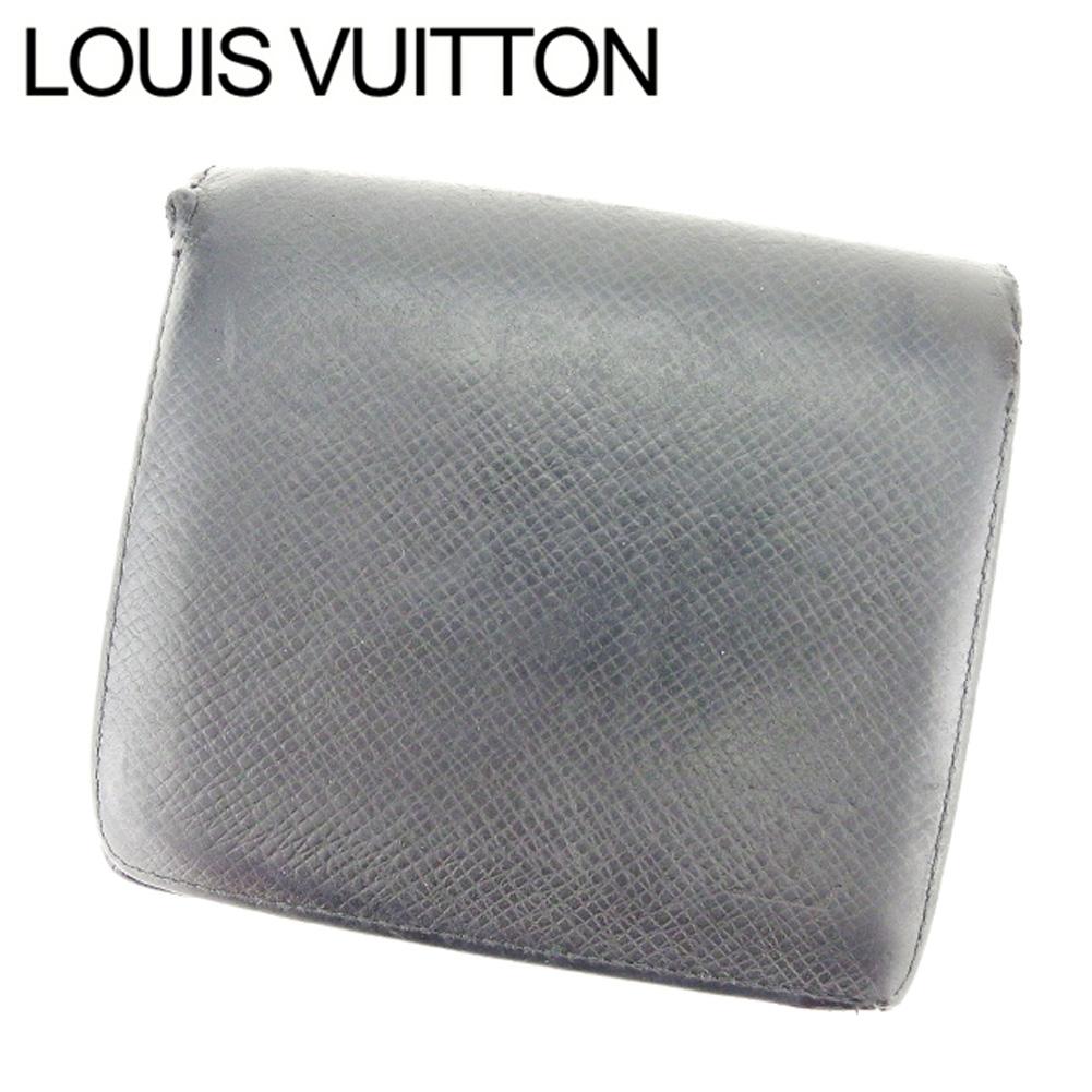 【中古】 ルイ ヴィトン LOUIS VUITTON 二つ折り財布 メンズ タイガ ブラック タイガレザ- 人気 セール E1310