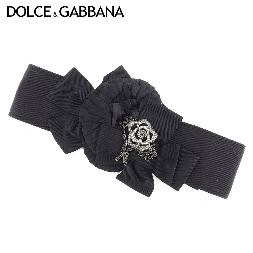 【中古】 ドルチェ&ガッバーナ DOLCE&GABBANA ベルト ウエストマーク レディース ラインストーン ブラック 人気 良品 L2493 .