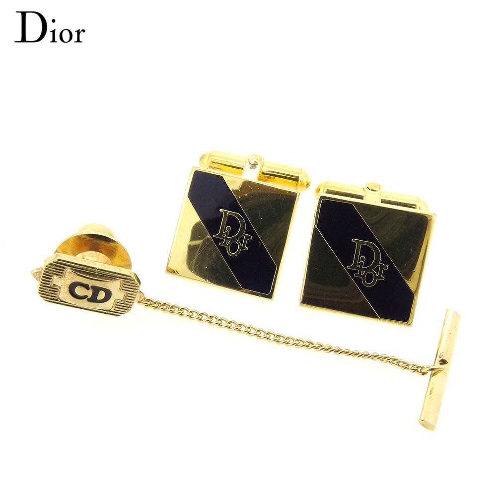 【中古】 ディオール Dior カフス タイピン セット メンズ  ゴールド ブラック GP 人気 セール L2502 .