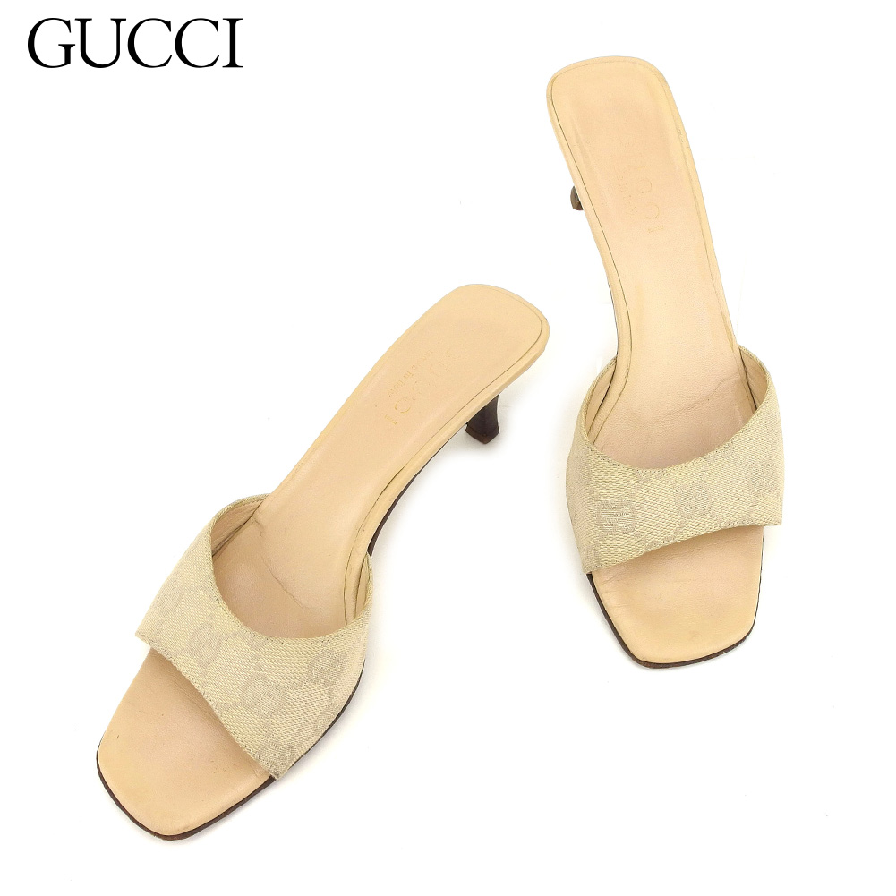 318de6061ce9 Gucci Gucci sandals shoes shoes Lady s  35 half GG pattern beige canvas X  leather popularity sale L2508