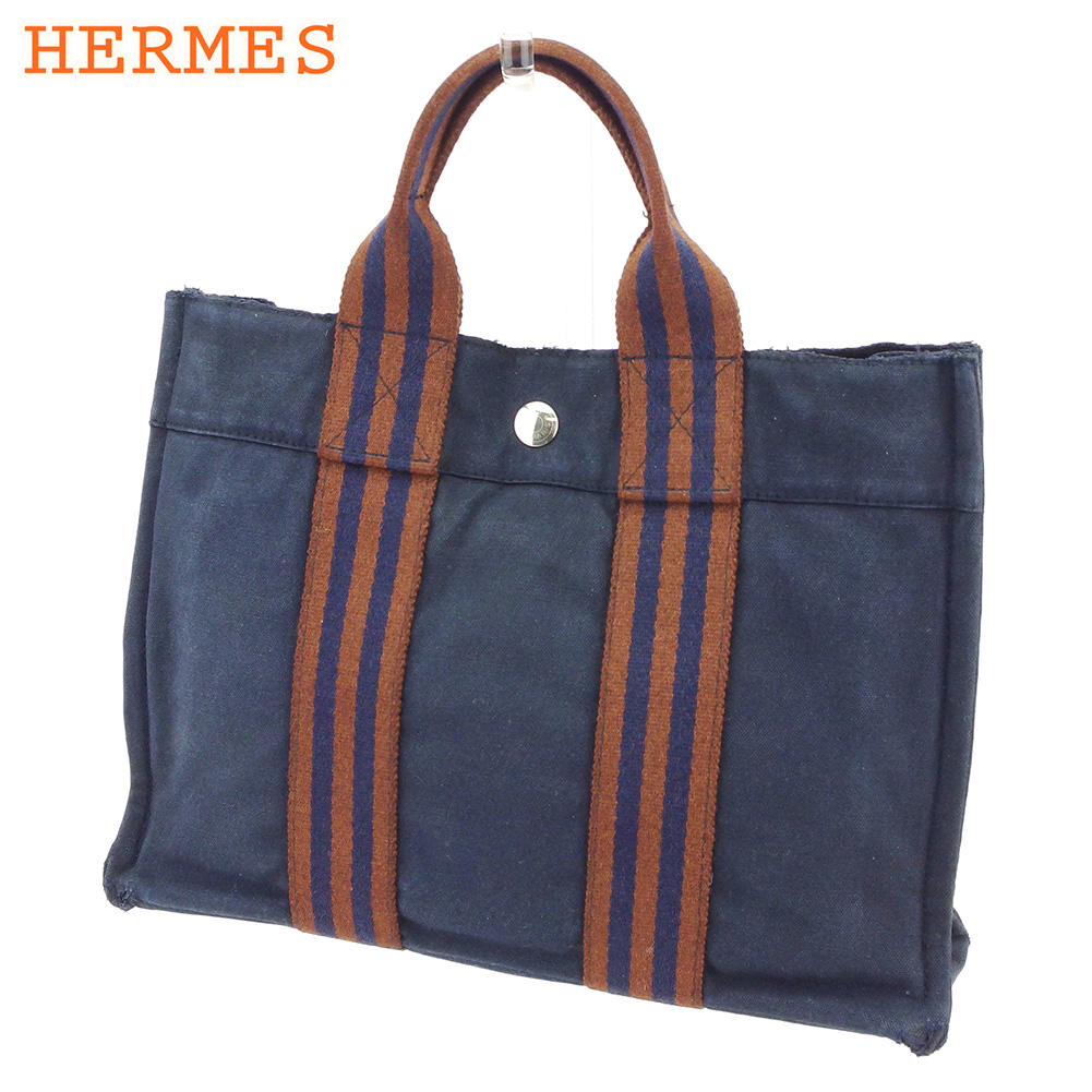 【中古】 エルメス HERMES トートバッグ ハンドバッグ メンズ可 フールトゥトートPM フールトゥ ネイビー ブラウン 綿100% 人気 セール L2514 .