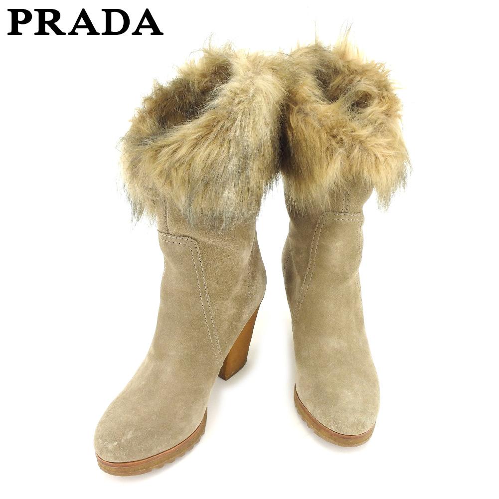 【中古】 プラダ PRADA ブーツ 靴 シューズ ミディアムブーツ レディース #37ハーフ フェイクファー ベージュ サフィアーノレザー 人気 セール L2516