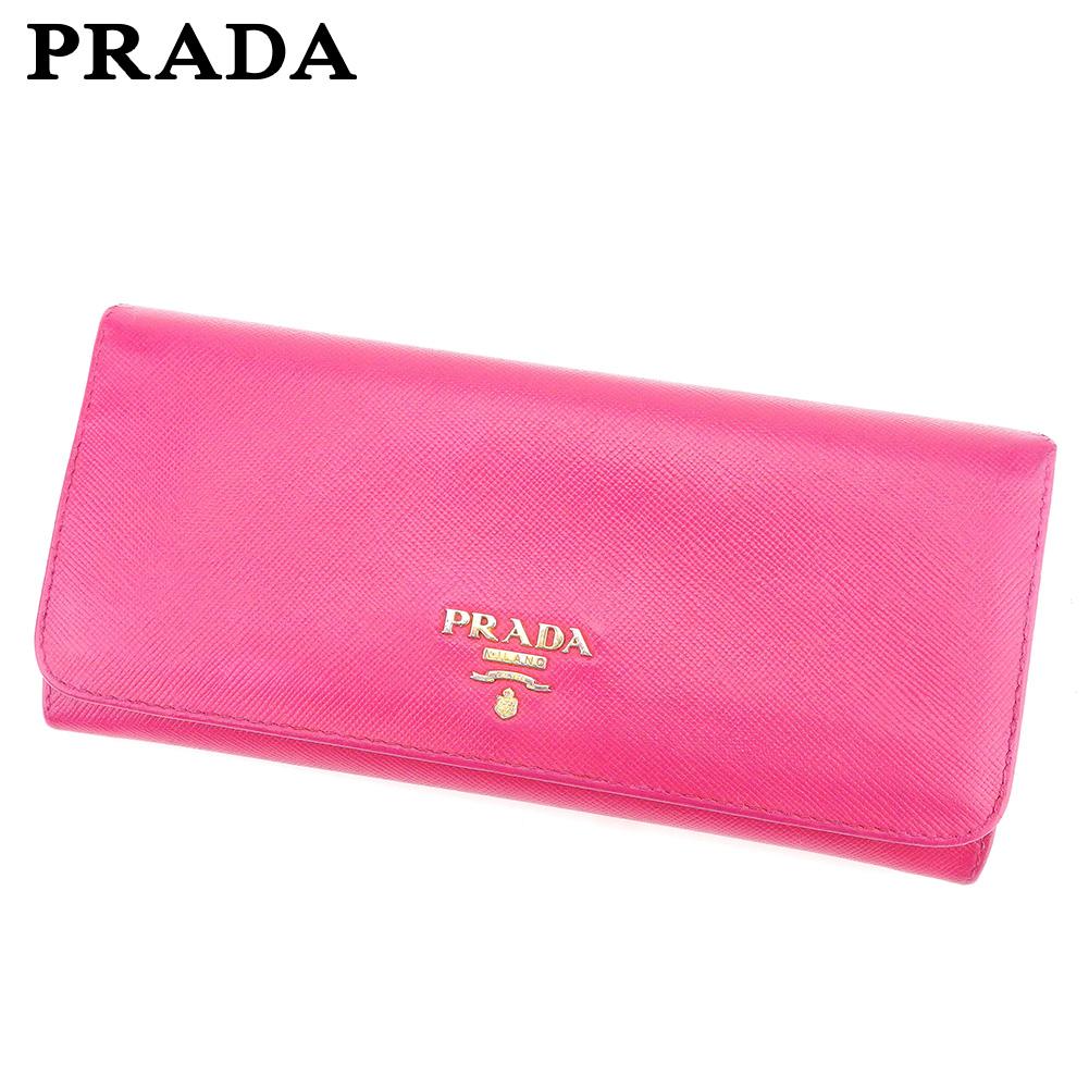 【中古】 プラダ PRADA 長財布 ファスナー付き 長財布 レディース  ピンク レザー 人気 セール L2520