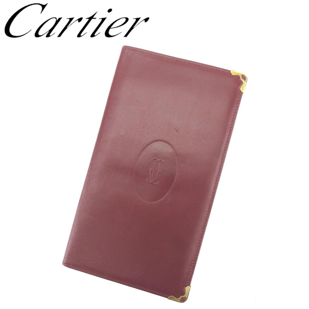 【中古】 カルティエ Cartier 長札入れ 札入れ レディース メンズ マストライン ボルドー ゴールド レザー 人気 セール S901