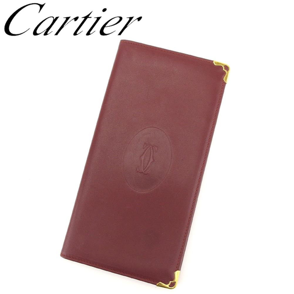 【中古】 カルティエ Cartier 長札入れ 札入れ レディース メンズ マストライン ボルドー ゴールド レザー 人気 良品 S902
