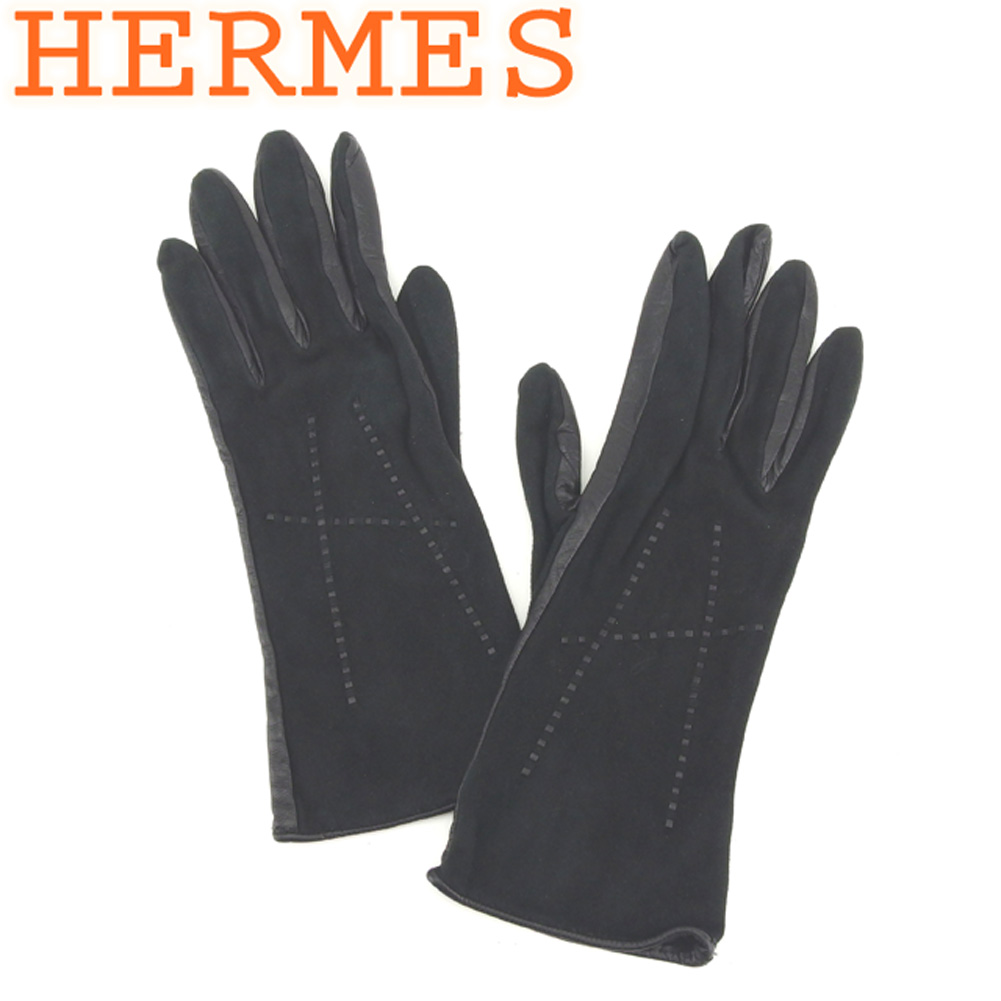 【中古】 エルメス HERMES 手袋 グローブ レディース Hモチーフ ブラック スエード×レザー 人気 良品 T8223 .