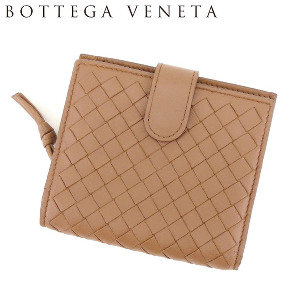 【中古】 ボッテガ ヴェネタ BOTTEGA VENETA 二つ折り 財布 ラウンドファスナー レディース メンズ イントレチャート ブラウン ゴールド レザー 人気 良品 T8234 .