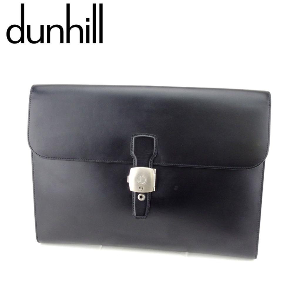 【中古】 ダンヒル dunhill クラッチバッグ セカンドバッグ 書類バッグ メンズ dマーク ブラック シルバー レザー 人気 セール T8237 .