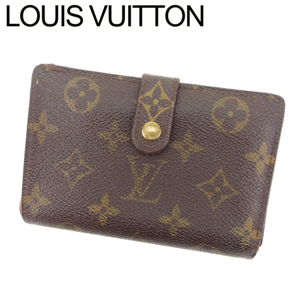 【中古】 ルイ ヴィトン Louis Vuitton がま口 財布 二つ折り メンズ可 ポルトモネビエヴィエノワ モノグラム ブラウン ベージュ ゴールド モノグラムキャンバス 訳あり セール T8260 .