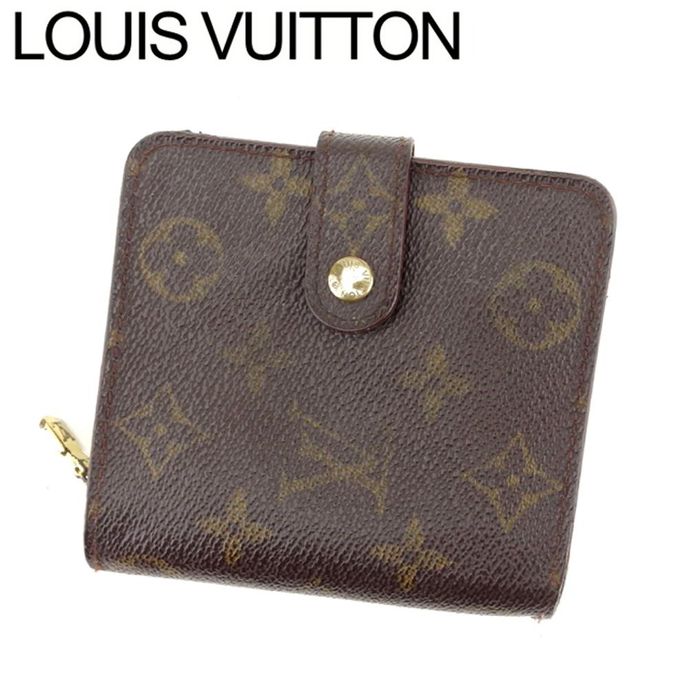 【中古】 ルイ ヴィトン Louis Vuitton 二つ折り 財布 ラウンドファスナー レディース メンズ コンパクトジップ モノグラム ブラウン ベージュ ゴールド モノグラムキャンバス 人気 セール T8265 .