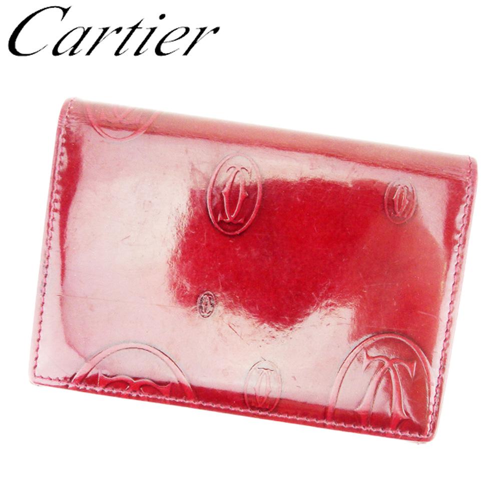 【中古】 カルティエ Cartier カードケース パスケース レディース メンズ ハッピーバースデー ボルドー レザー 人気 セール T8539