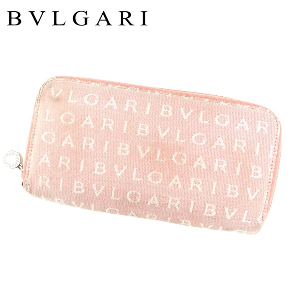 【中古】 ブルガリ BVLGARI 長財布 ラウンドファスナー レディース ロゴマニア ピンク キャンバス×レザー 人気 セール T8544