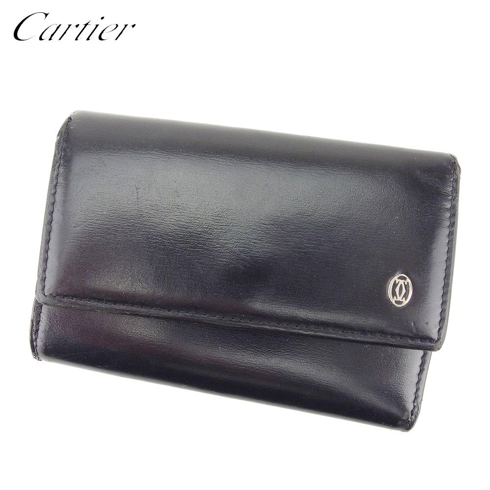 【中古】カルティエ Cartier キーケース 6連キーケース メンズ パシャ ブラック シルバー レザー 人気 D1968 .