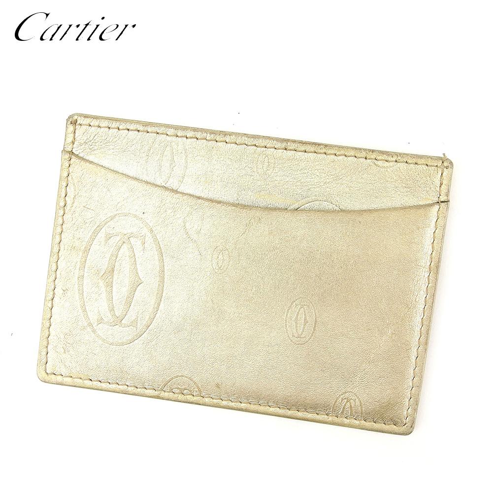 【中古】 カルティエ Cartier カードケース 名刺入れ パスケース レディース メンズ ゴールド レザー D1970