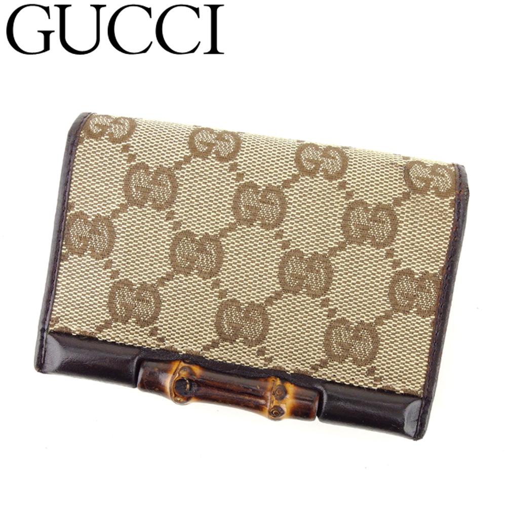 【中古】グッチ Gucci カードケース 名刺入れ レディース メンズ GGキャンバス ブラウン ベージュ キャンバス×レザー E1367 .