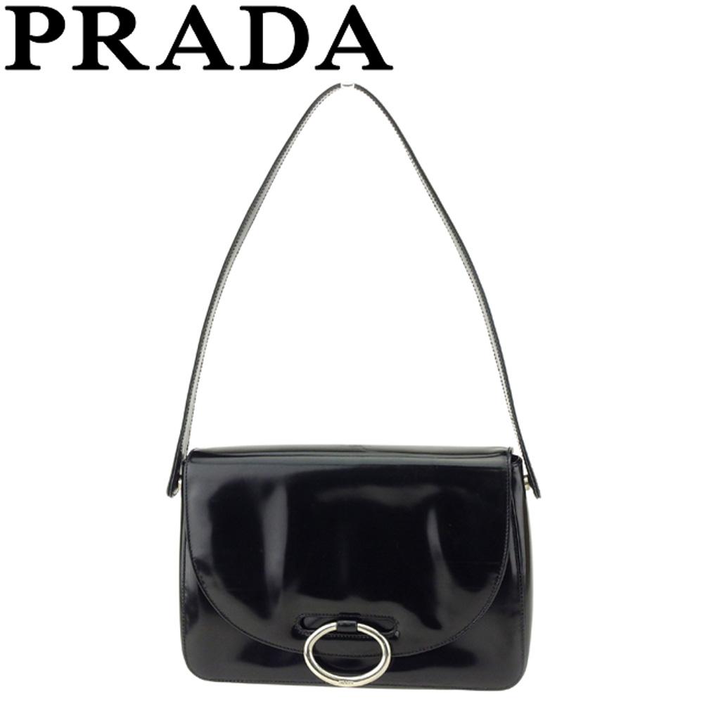【中古】プラダ PRADA ショルダーバッグ ワンショルダー レディース  ブラック レザー E1369 .