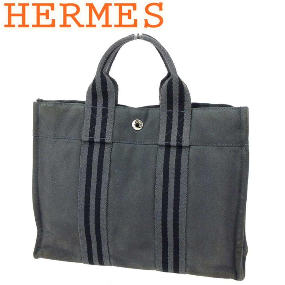 【中古】エルメス HERMES トートバッグ ハンドバッグ レディース メンズ フールトゥトートPM フールトゥ グレー 灰色 ブラック 綿100% 人気 E1390 .