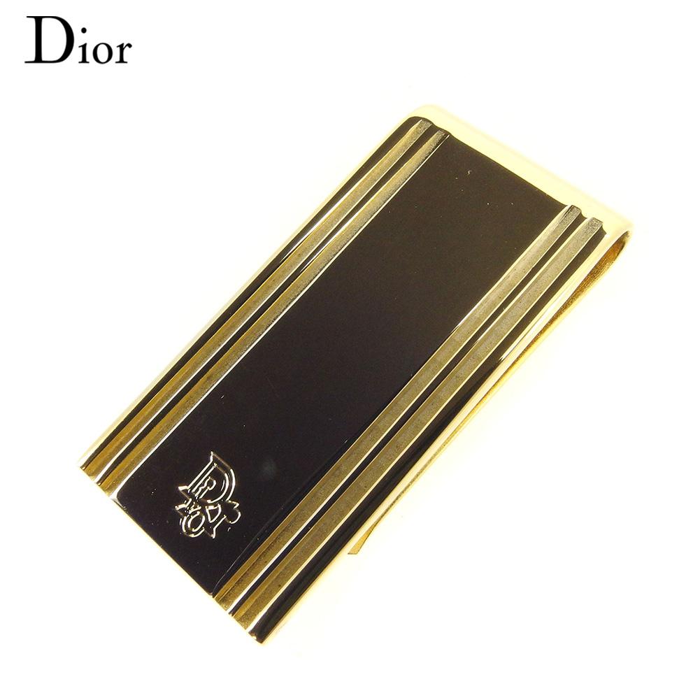 【中古】ディオール Dior マネークリップ クリップ メンズ ストラップライン入り ロゴ ゴールド ゴールドメッキ ヴィンテージ 人気 T8646 .