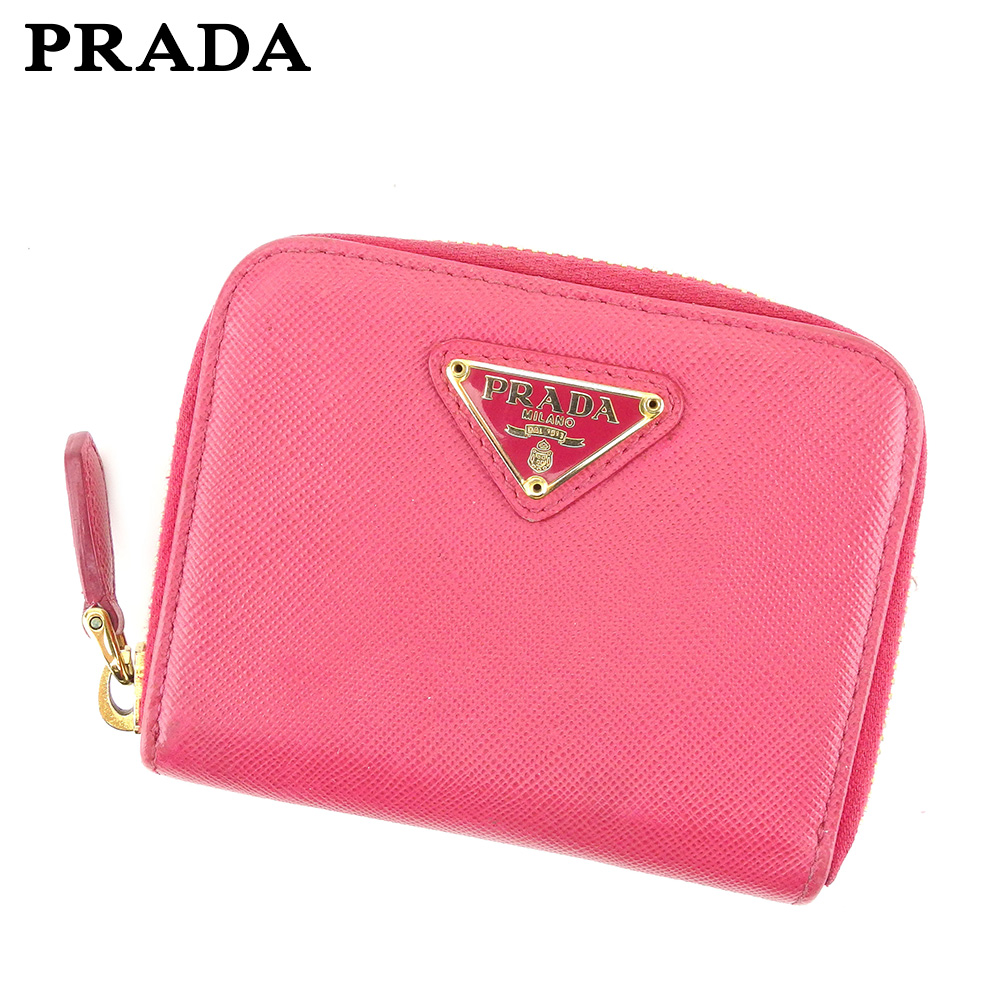 9fadd89b0181 Prada PRADA coin case coin purse レディーストライアングルロゴピンクゴールドサフィアーノレザー T8648