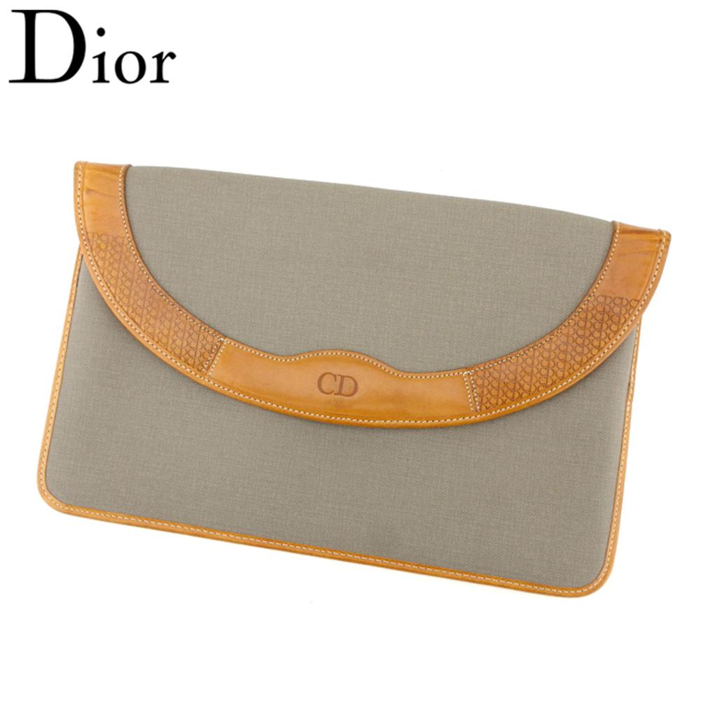 【中古】ディオール Dior クラッチバッグ セカンドバッグ レディース メンズ  グレー 灰色 ブラウン PVC×レザー ヴィンテージ 人気 T8947 .