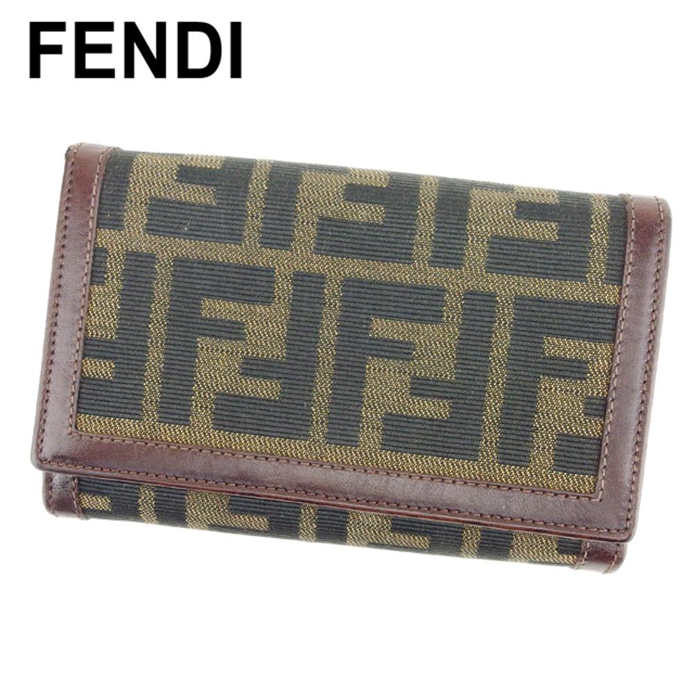 夏 プレゼント 中古 フェンディ 三つ折り 財布 二つ折り 海外輸入 贈答 ブラウン FENDI ブラック キャンバス×レザー ズッカ ベージュ H633