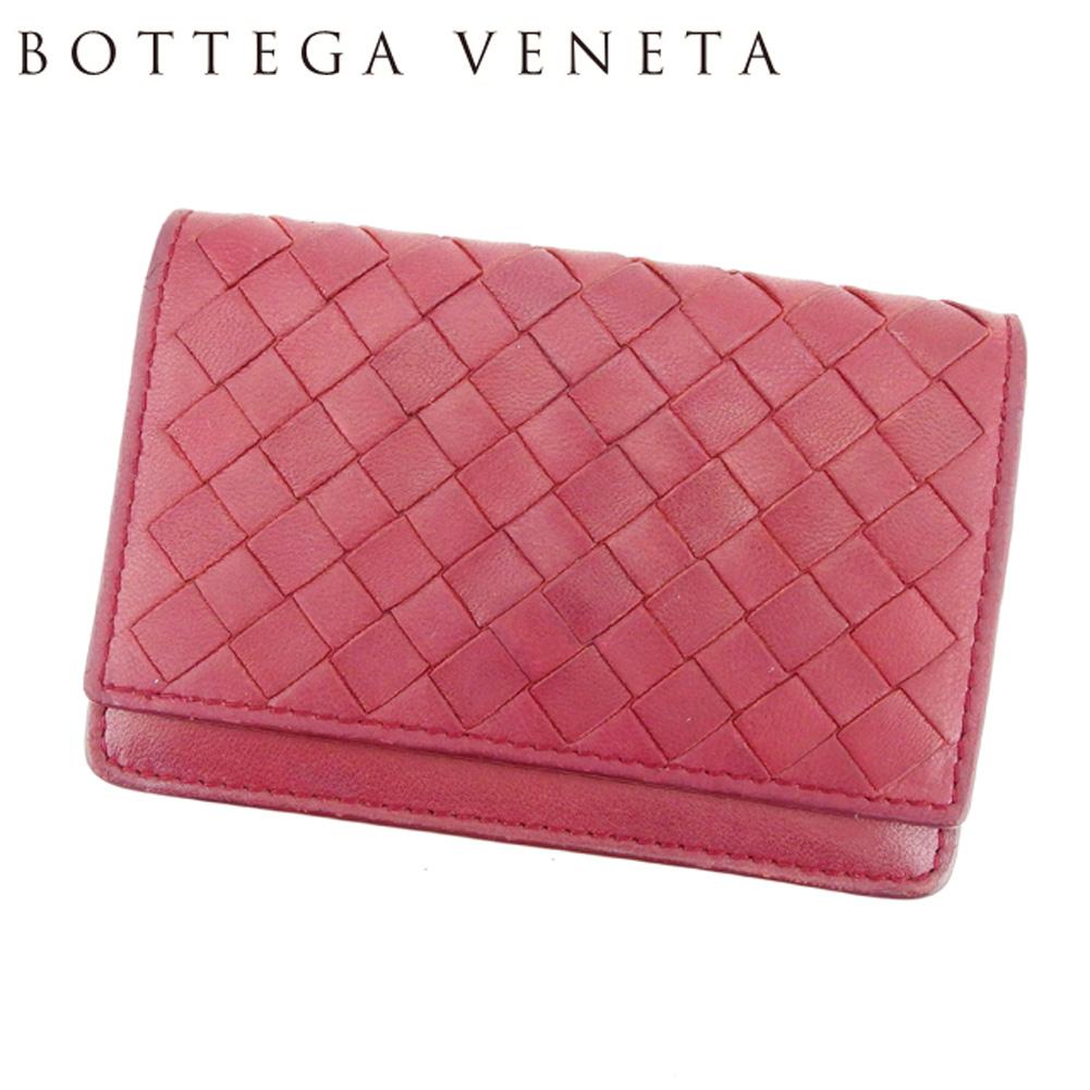 【中古】 ボッテガ ヴェネタ Bottega Veneta カードケース 名刺入れ レディース メンズ イントレチャート ボルドー レザー 人気 セール H635 .