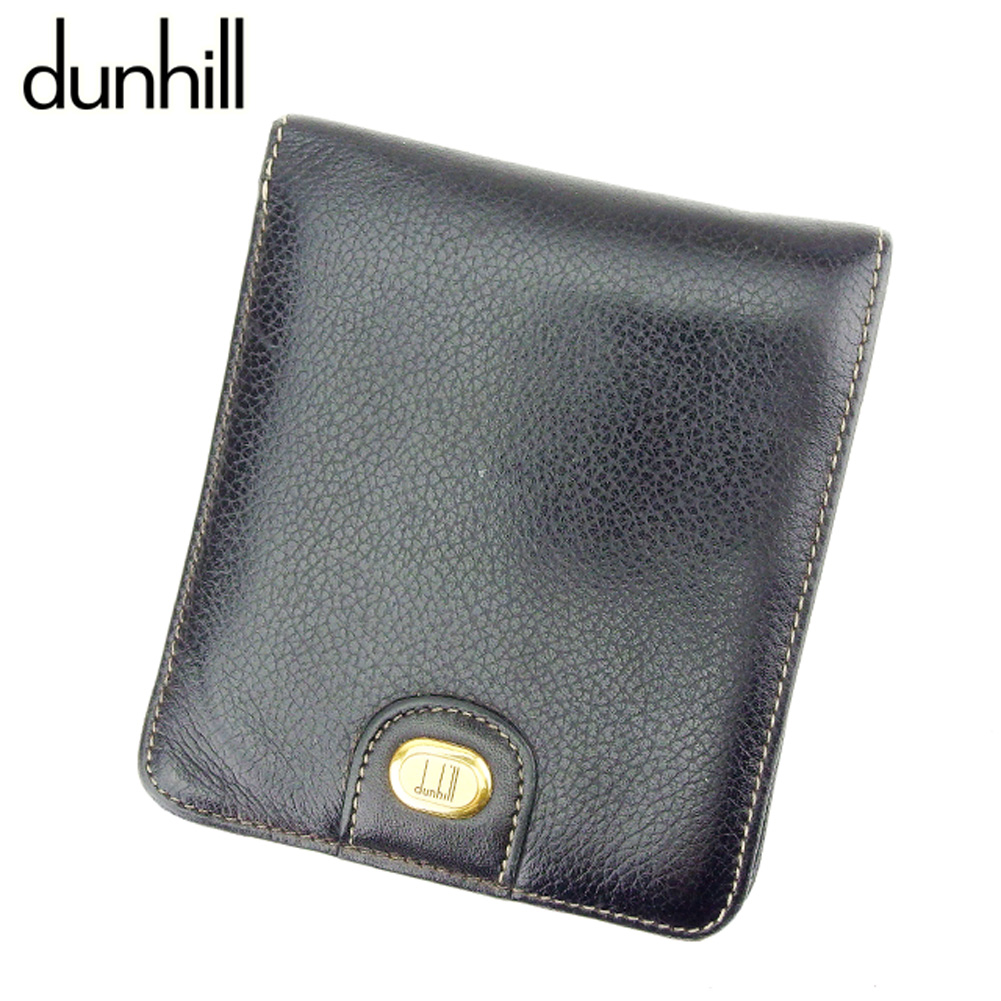 【中古】 ダンヒル dunhill 二つ折り 財布 メンズ ロゴプレート ブラック レザー 人気 セール H639 .