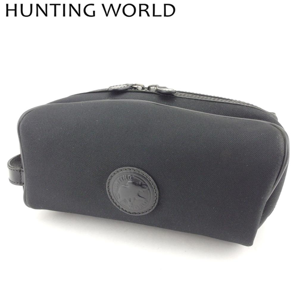 【中古】 ハンティングワールド HUNTING WORLD クラッチバッグ セカンドバッグ レディース メンズ  ブラック キャンバス×レザー 人気 セール H644 .