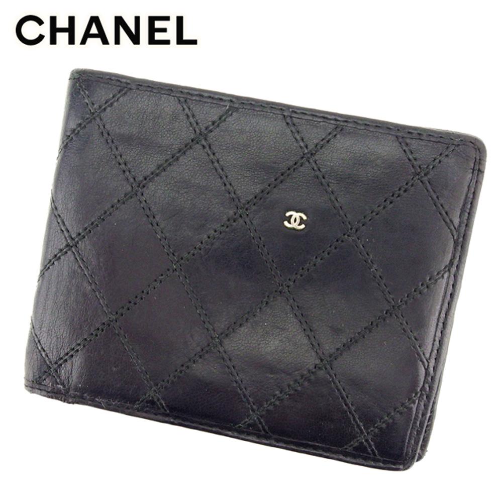 【中古】 シャネル CHANEL 二つ折り 札入れ 二つ折り 財布 レディース メンズ ビコローレ ブラック レザー ヴィンテージ レア T8953 .