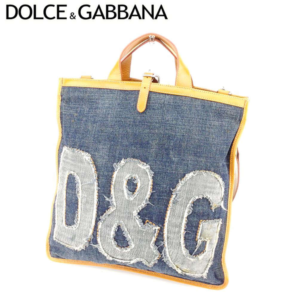 【中古】 ドルチェ&ガッバーナ DOLCE&GABBANA ショルダーバッグ 2WAYショルダー レディース メンズ デニム ネイビー ブラウン キャンバス×レザー 人気 セール T8964 .
