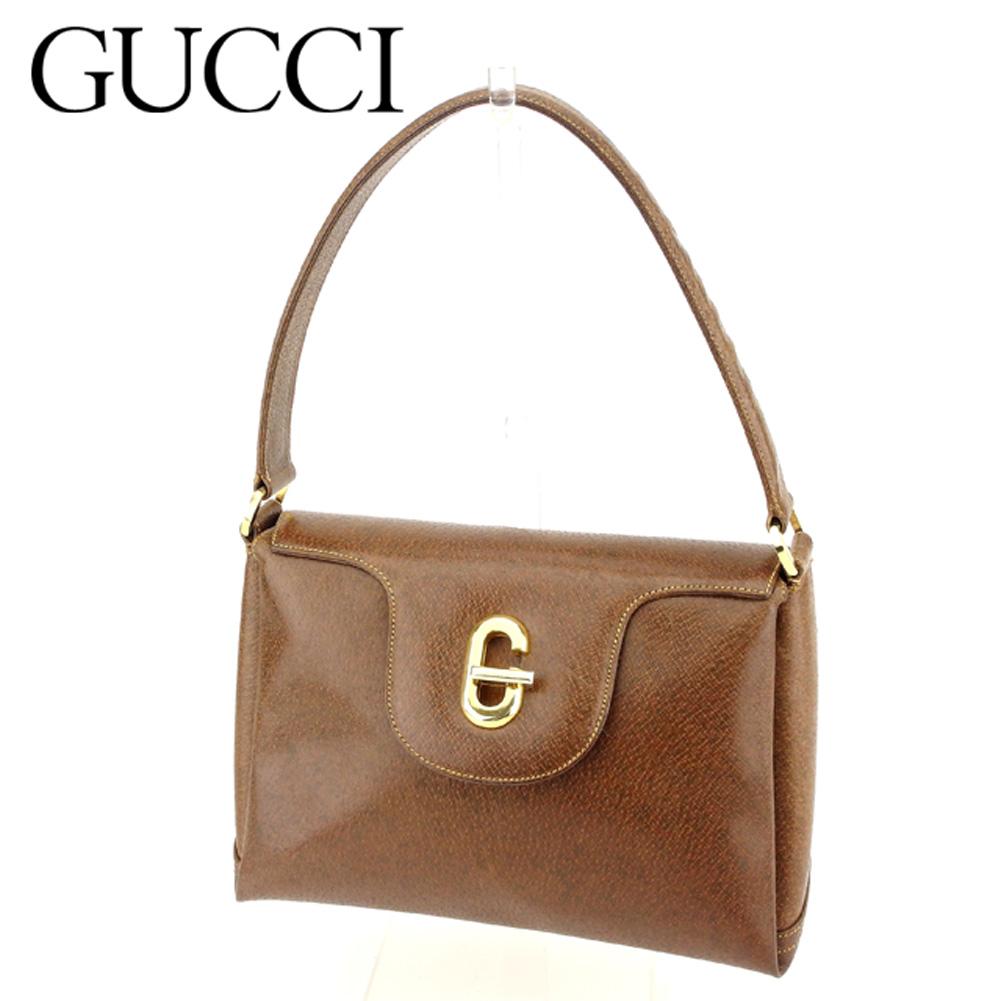 【中古】 グッチ Gucci ハンドバッグ ワンショルダー レディース オールドグッチ ブラウン レザー ヴィンテージ 人気 T8966 .