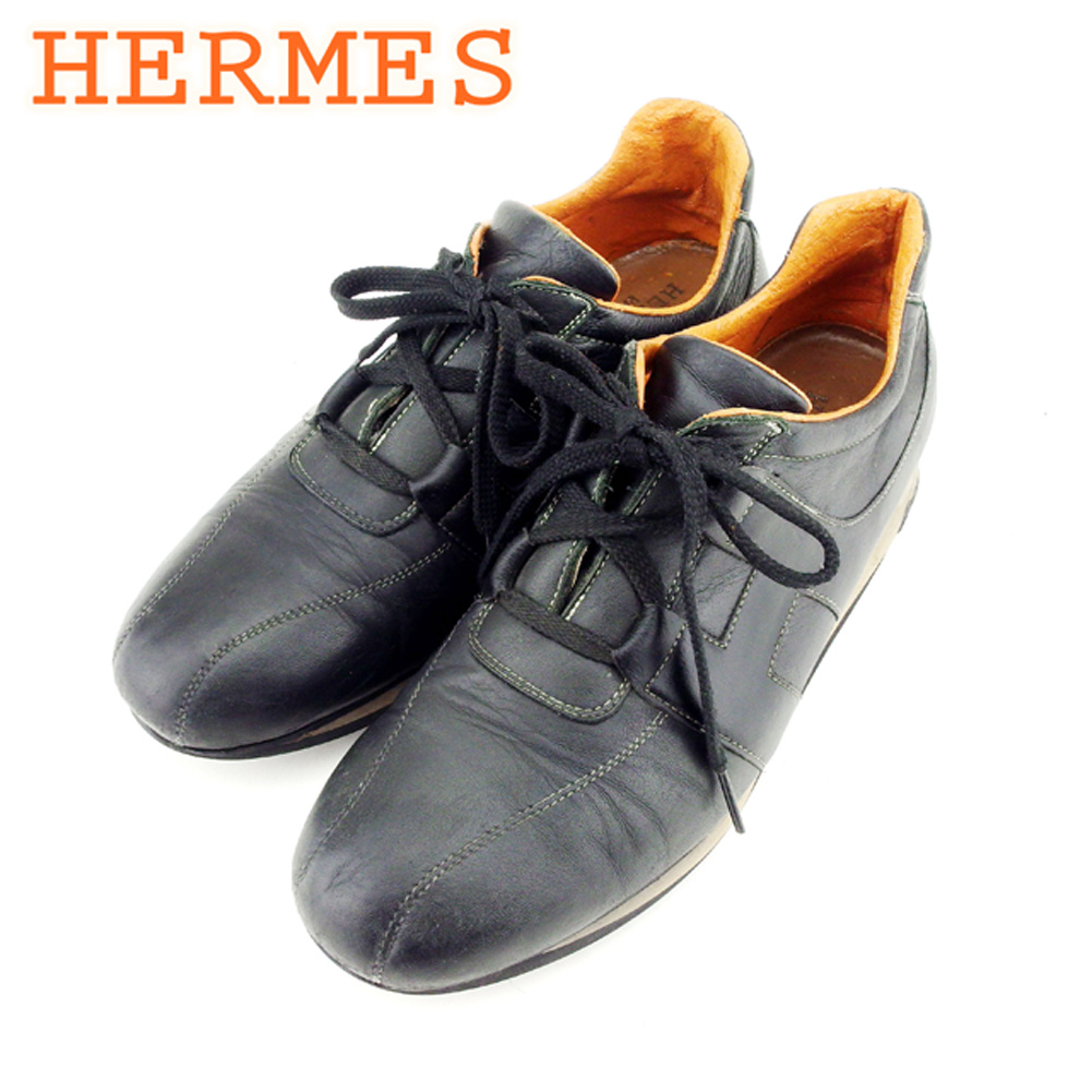 26724fdc43b8 Hermes HERMES sneakers shoes shoes men black orange leather popularity sale  T8982