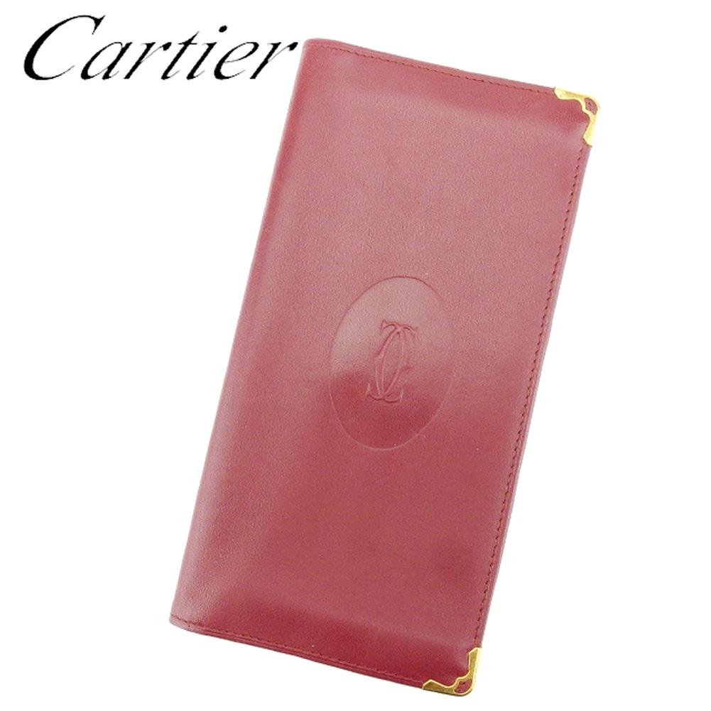 【中古】 カルティエ 長札入れ 長財布 さいふ マストライン ボルドー レザー Cartier T8987