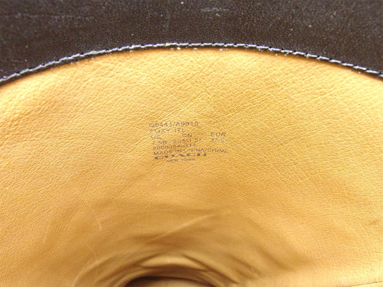 セール10 オフコーチ ブーツ シューズ 靴 ♯37 5 ロング ブラック シルバー レザーQ6441COACH レディース プレゼント 贈り物 1点物 人気 良品 夏 ブランド 迅速発送 オシャレ 大人 在庫処分 ファッション送料無料L2537 AvwN8nOm0