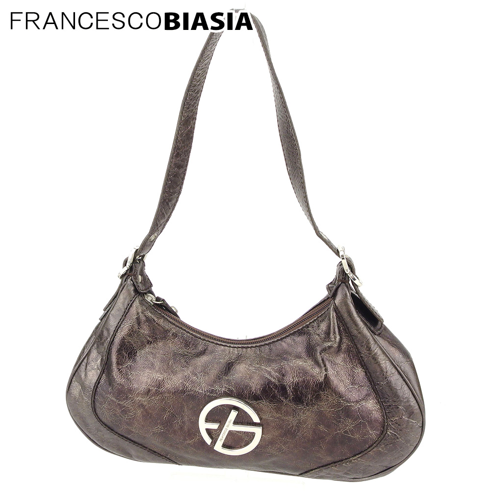 【中古】 フランチェスコビアジア FRANCESCO BIASIA ショルダーバッグ ワンショルダー バッグ レディース FBマーク ブラウン シルバー レザー 人気 セール L2562 .