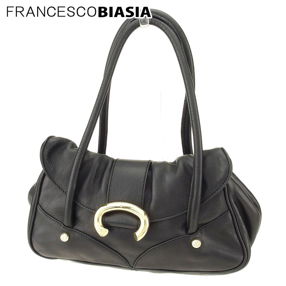 【中古】 フランチェスコビアジア FRANCESCO BIASIA ハンドバッグ バッグ レディース FBボタン ブラック ゴールド レザー 人気 良品 L2573 .