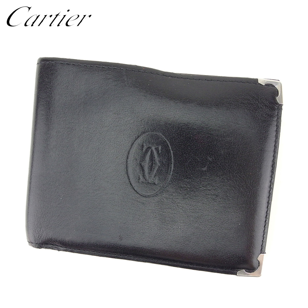【中古】 カルティエ Cartier 二つ折り 財布 メンズ カボション ブラック ボルドー シルバー レザー 人気 セール T8732 .