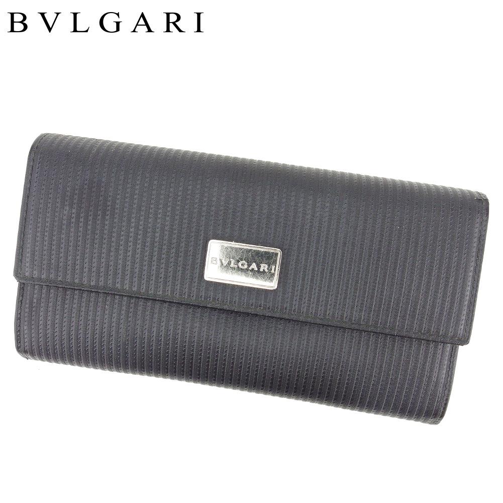 夏 プレゼント 中古 ブルガリ 長財布 ふるさと割 ファスナー付き 財布 BVLGARI 日本最大級の品揃え ミレリゲ T8735 PVC×レザー シルバー ブラック