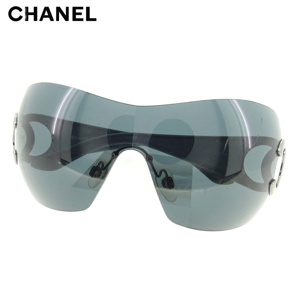 【中古】 シャネル CHANEL サングラス メガネ アイウェア レディース メンズ ワンレンズ型 ココマーク ブラック シルバー プラスチック×シルバー金具 人気 セール D1977 .
