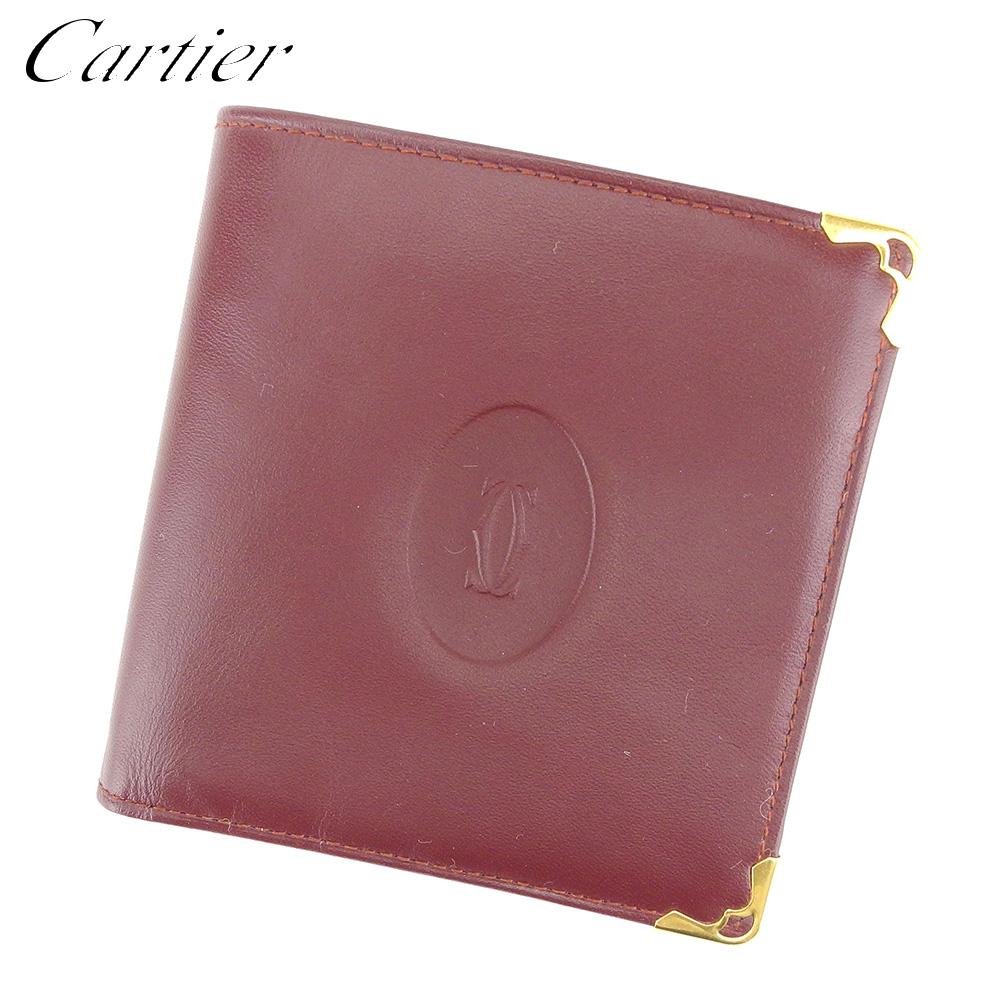 【中古】 カルティエ Cartier 二つ折り 財布 レディース メンズ マストライン ボルドー ゴールド レザー 美品 セール D1982 .