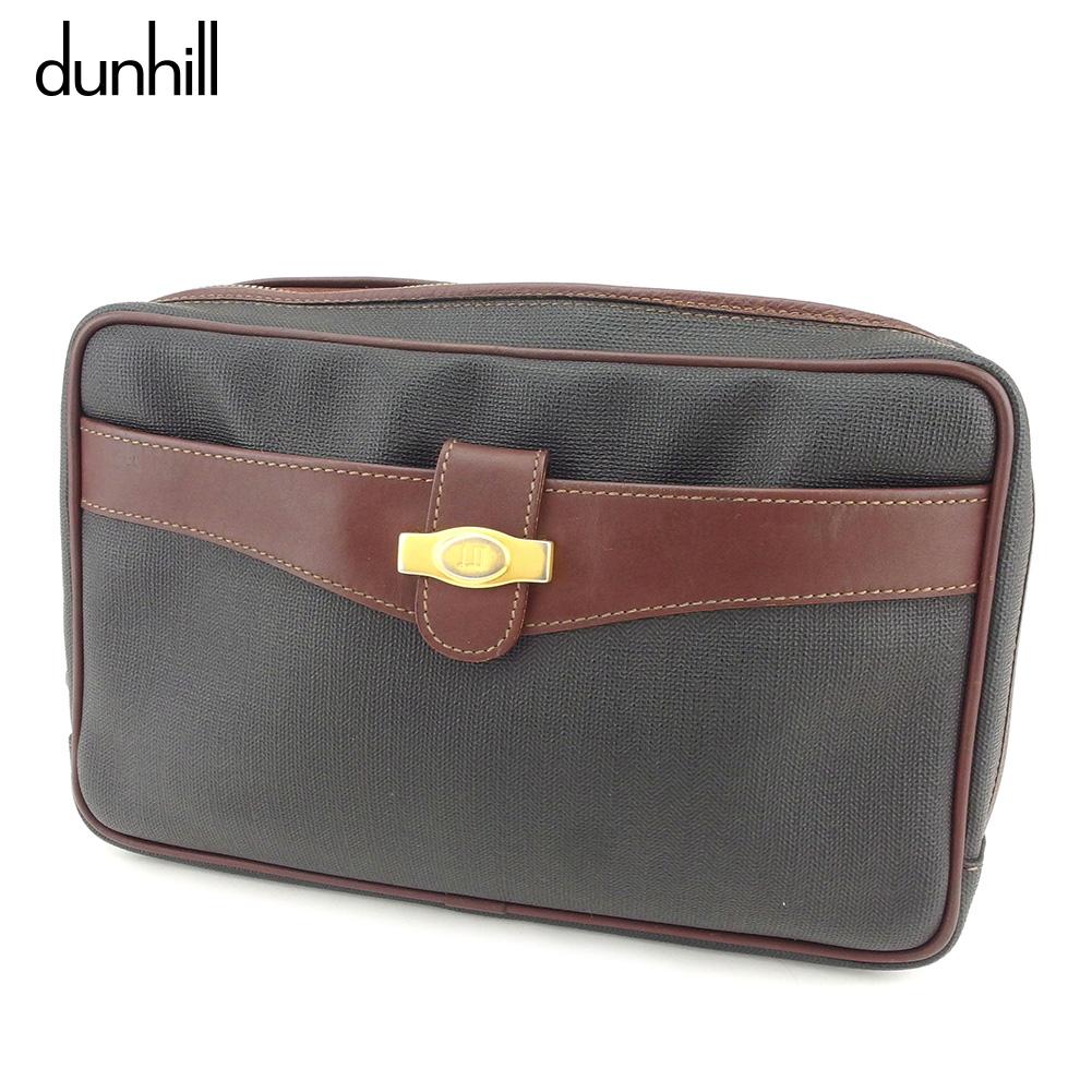 【中古】 ダンヒル dunhill クラッチバッグ セカンドバッグ バッグ メンズ ヘリンボーン ブラック ブラウン ゴールド PVC×レザー 人気 セール D1991 .