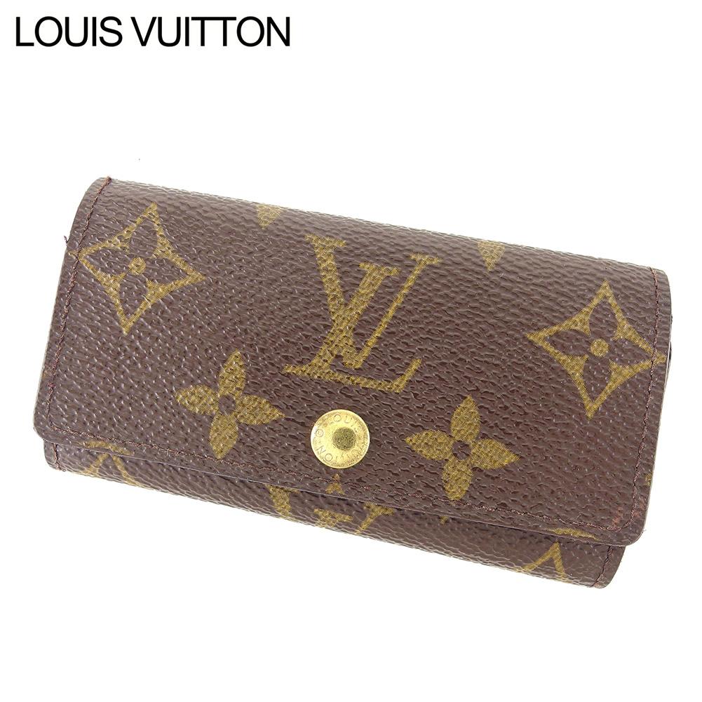 【中古】 ルイ ヴィトン Louis Vuitton キーケース 4連キーケース レディース メンズ ミュルティクレ4 モノグラム ブラウン ベージュ ゴールド モノグラムキャンバス 人気 セール D2005 .
