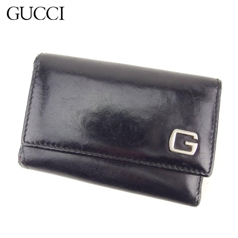 【中古】 グッチ Gucci キーケース 6連キーケース レディース メンズ  ブラック レザー 人気 セール S1010 .