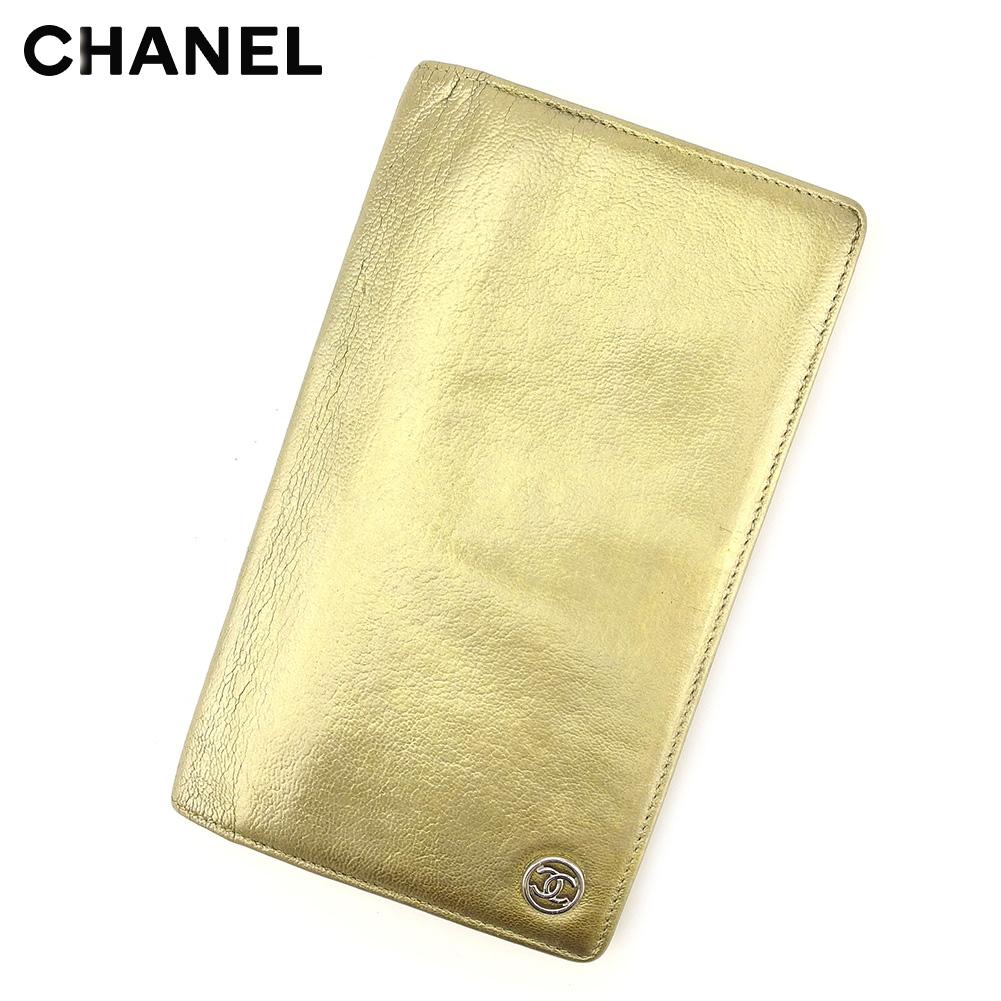 【中古】 【送料無料】 シャネル CHANEL 長財布 ファスナー付き長財布 レディース ゴールド レザー T8997
