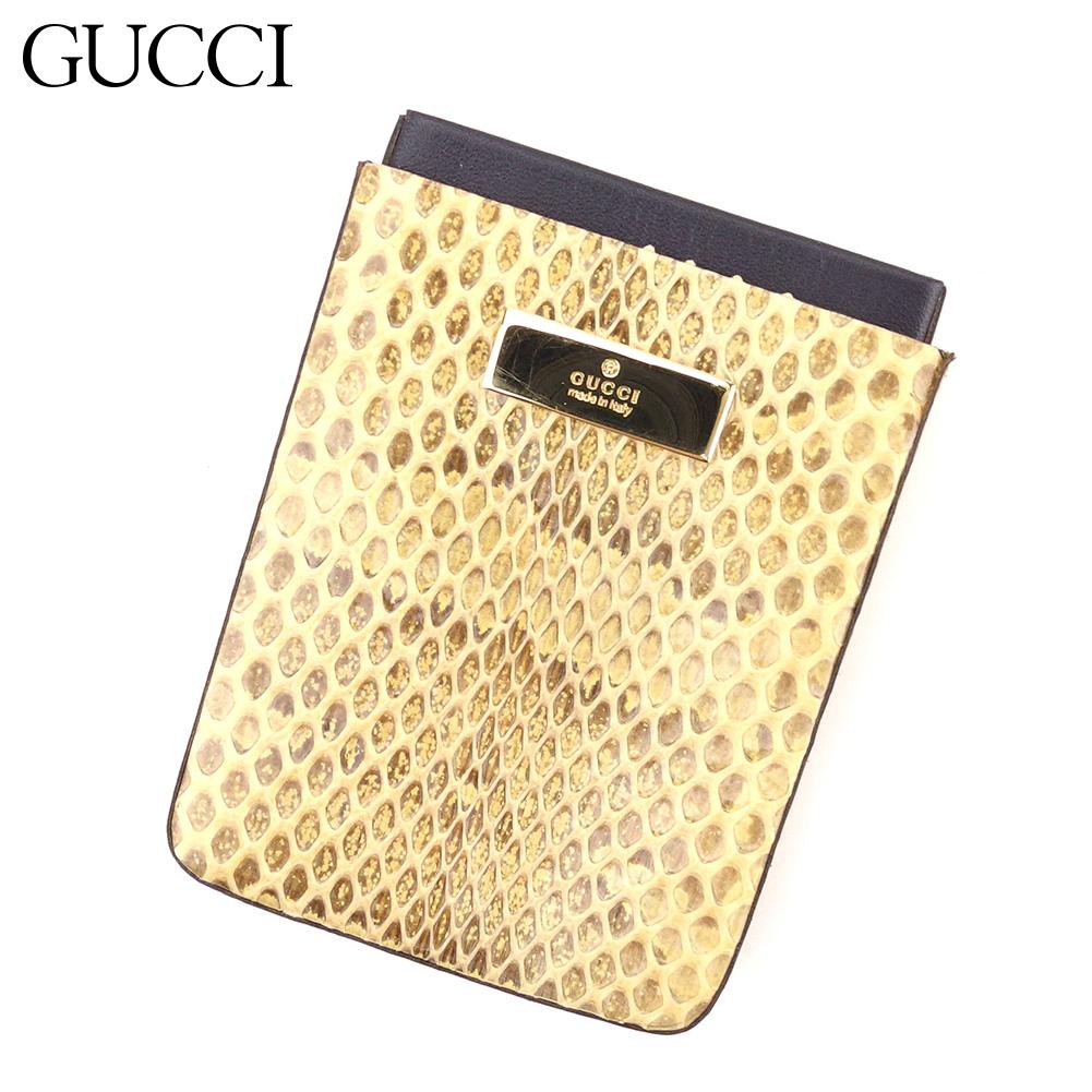 【中古】 グッチ Gucci カードケース 名刺入れ レディース メンズ パイソン ベージュ レザー 人気 セール T9007 .