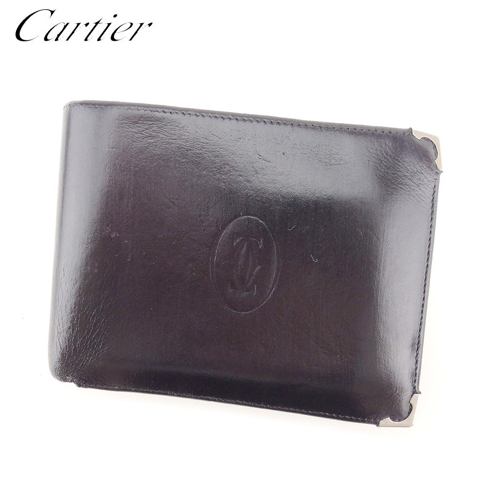 【中古】 カルティエ Cartier 二つ折り 財布 レディース メンズ マストライン ブラック レザー 人気 セール T9027 .