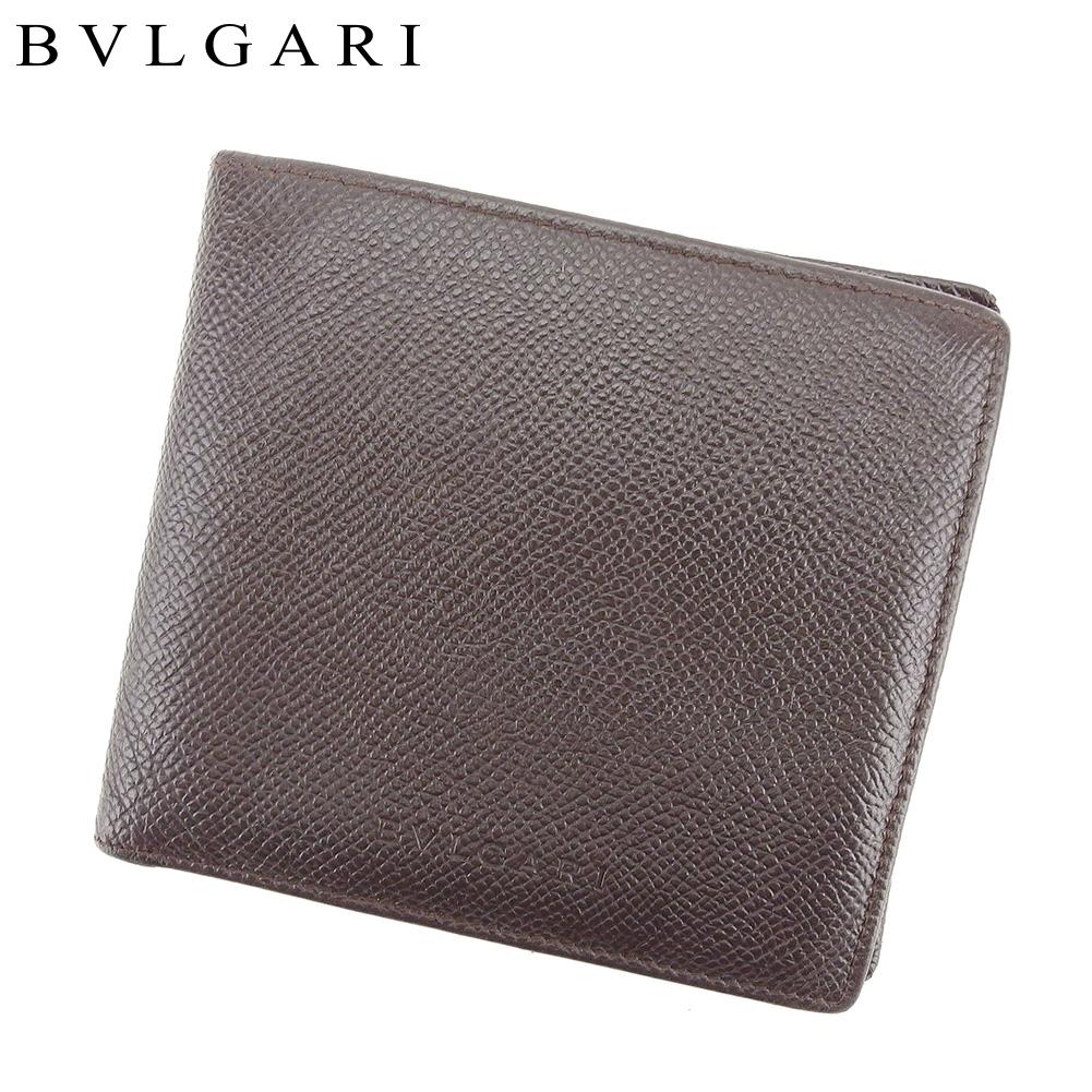 【中古】 ブルガリ BVLGARI 二つ折り 財布 メンズ クラシコ ブラウン レザー 美品 セール T9091 .