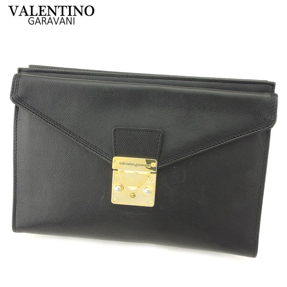 【中古】 ヴァレンティノ ガラヴァーニ VALENTINO GARAVANI クラッチバッグ セカンドバッグ レディース メンズ ヴァレンティノガラバーニ ブラック レザー 人気 セール P832 .